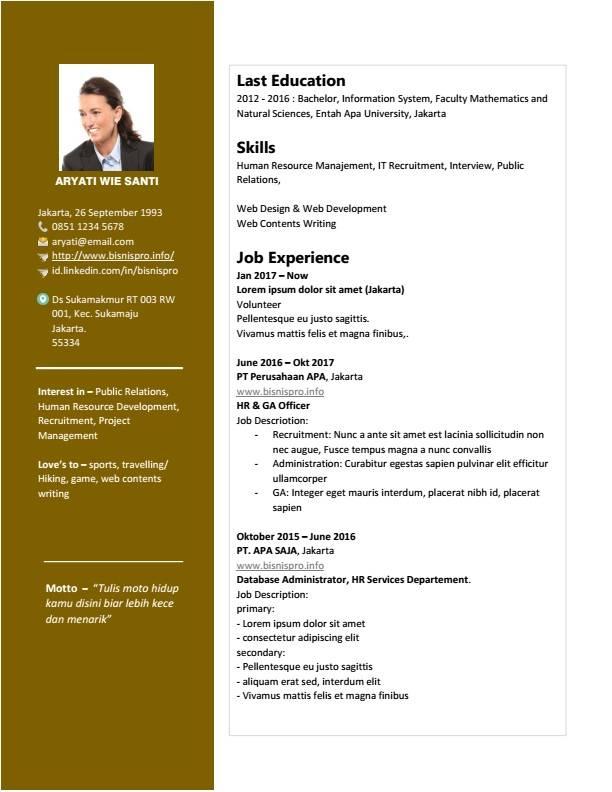 Desain Curriculum Vitae Keren