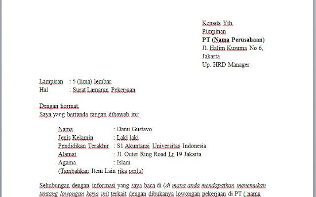 download contoh surat lamaran kerja resume serbabisnis
