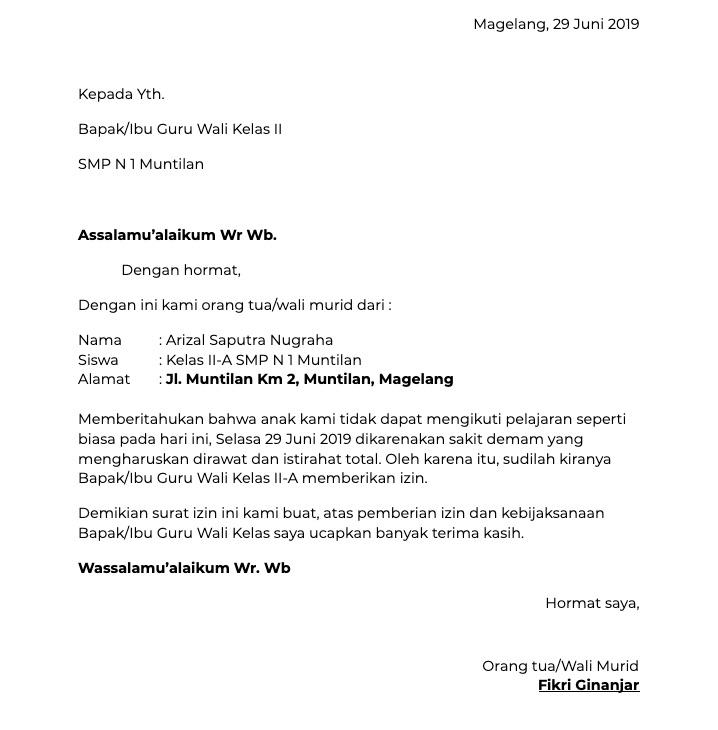 Contoh Surat Izin Tidak Masuk Sekolah Serbabisnis