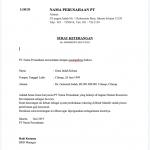 Surat Keterangan Kerja Format Pertama