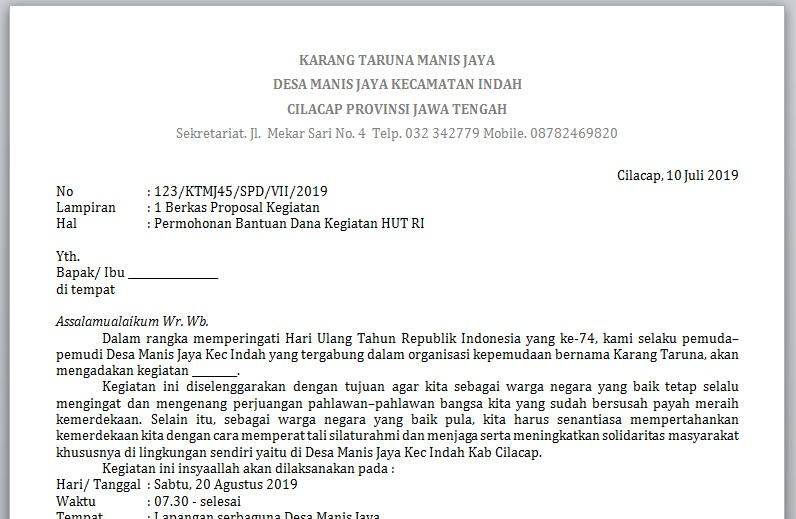 Contoh Surat Dan Proposal Permohonan Bantuan Dana Hut Ri Serbabisnis