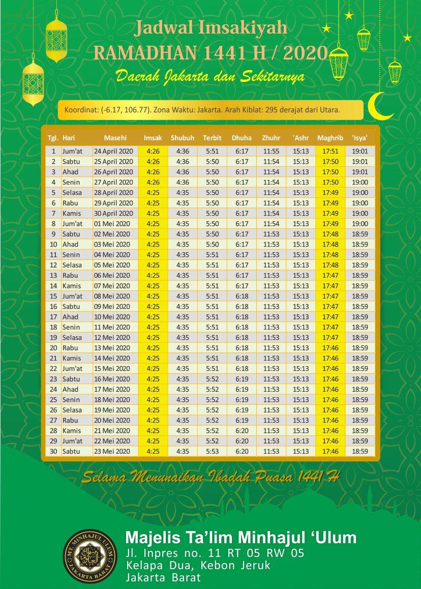 jadwal imsakiyah puasa ramadhan 2020 jakarta barat ...
