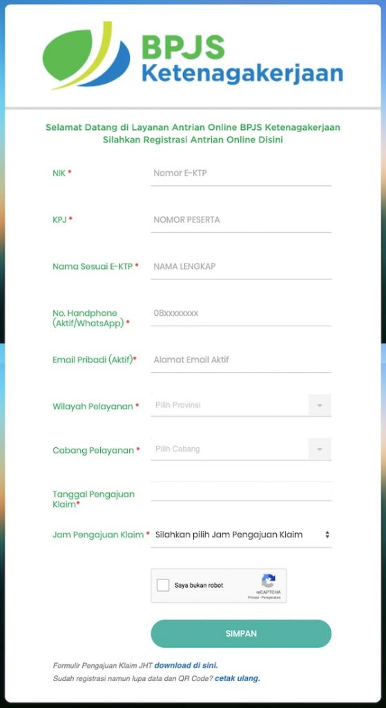 Form Antrian Online BPJS Ketenagakerjaan