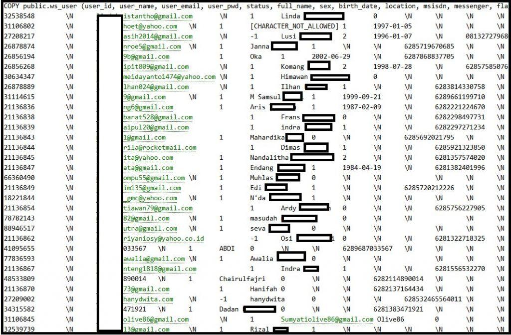 Tokopedia kebocoran data, ini data pengguna tokopedia yang berhasil di hack