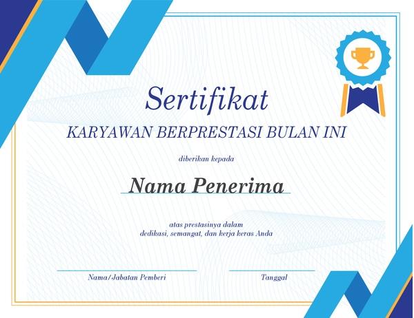 Contoh sertifikat karyawan terbaik