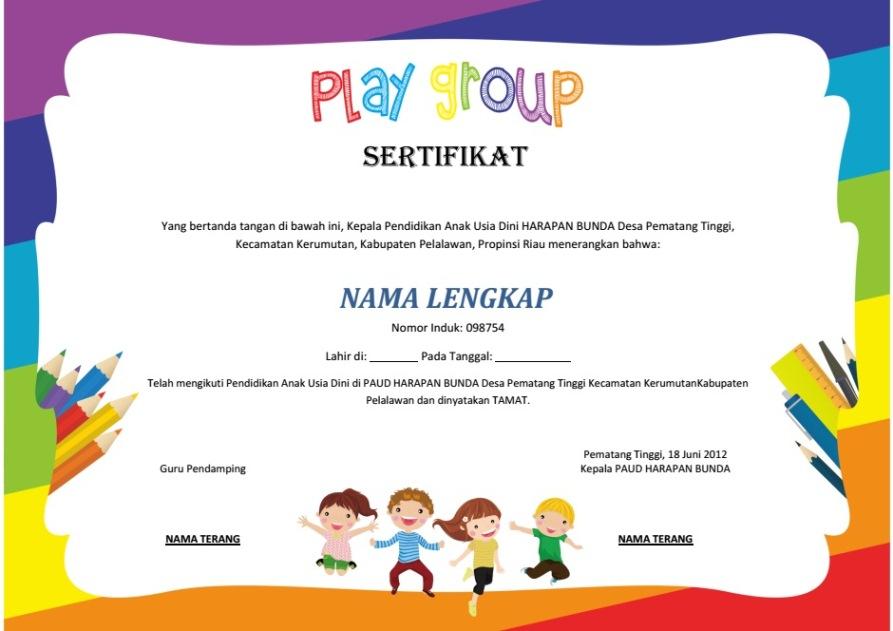 Desain sertifikat ijazah sekolah paud tk