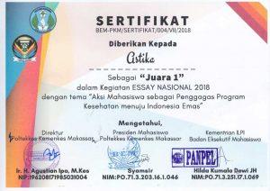 Sertifikat Juara 1 Lomba Esai Nasional Poltekkes Kemenkes Makassar
