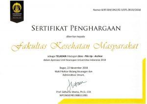 Sertifikat penghargaan FKM UI
