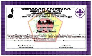 Sertifikat Pramuka SMK Muhammadiyah 3 Purbalingga