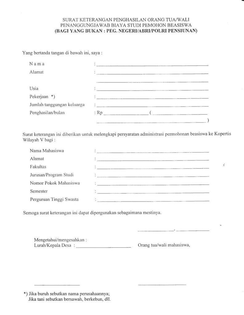 Surat Keterangan Penghasilan Orang Tua Wali