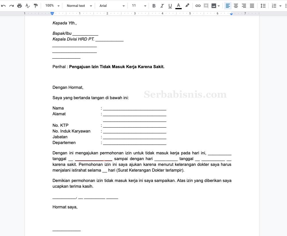 Contoh Surat Izin Tidak Masuk Kerja Doc Lengkap Serbabisnis