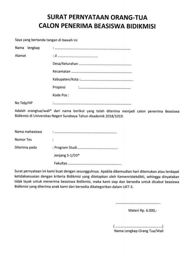 surat pernyataan orang tua wali calon penerima bidikmisi