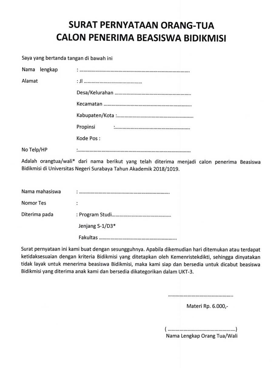 surat pernyataan orang tua wali calon penerima bidikmisi ...