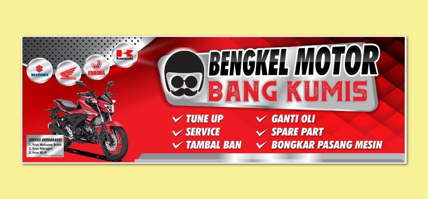Banner Spanduk Bengkel Motor Bang Kumis