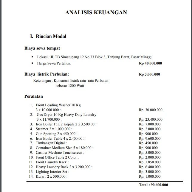 Analisa Keuangan - Contoh Proposal Usaha Jasa Laundry