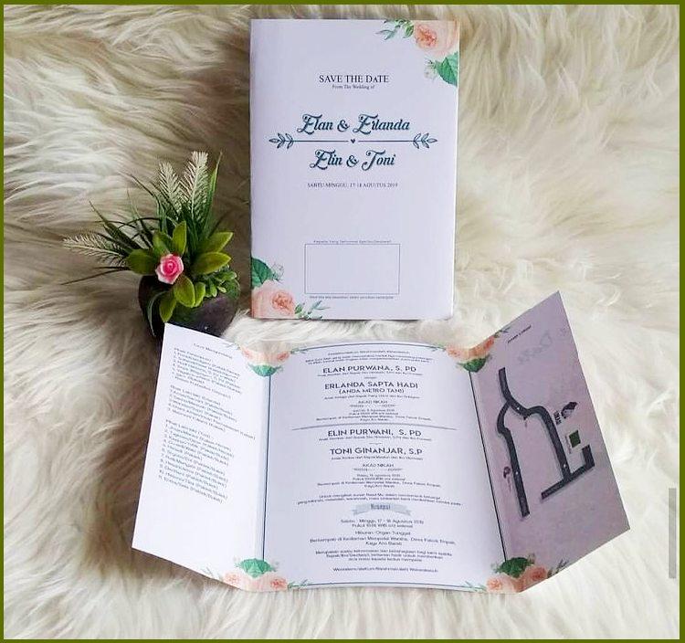 Undangan Pernikahan Lipat 3 Sederhana
