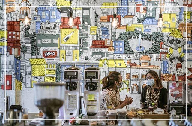 Lukisan Dinding cafe colorfull