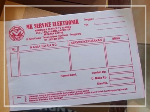 Contoh Nota service elektronik