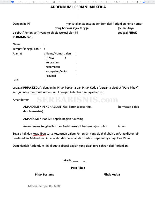 Adendum Kontrak Kerja Karyawan