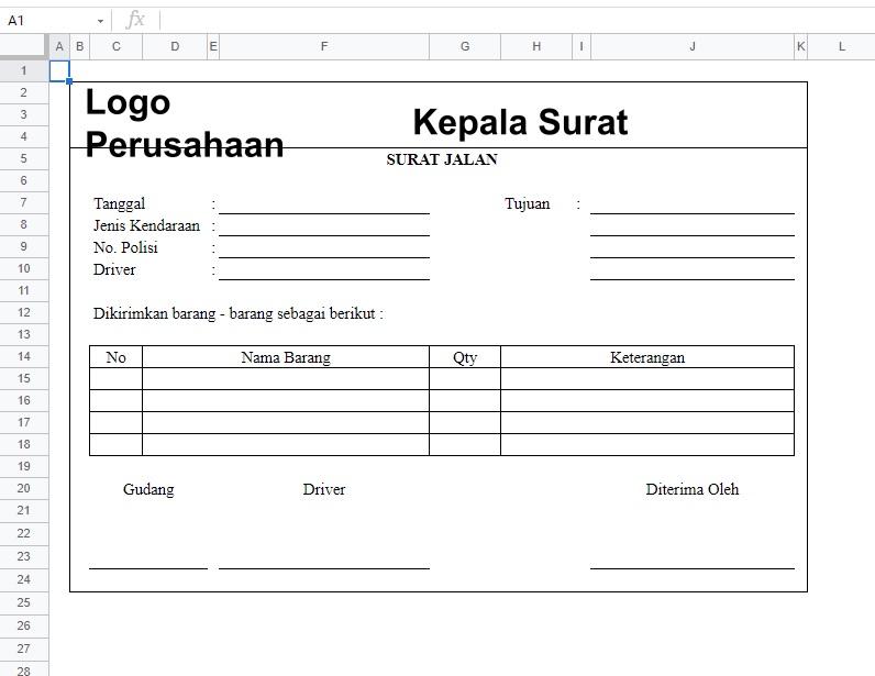 Contoh Surat Jalan Excel